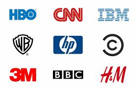 Logotipos de várias marcas com siglas: HBO, CNN, IBM, WB, HP, 3M, BBC
